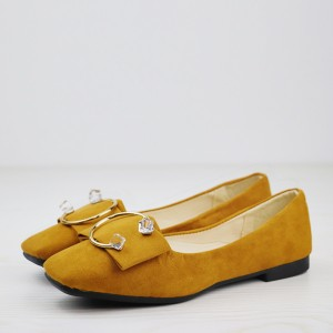 Square Crystal Suede Flat Party Wear Shoes - Brown
