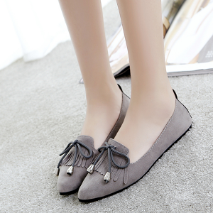 Tassel Laced Party Wear Suede Shoes - Grey