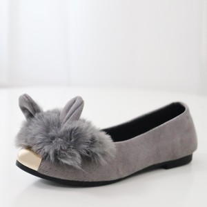 Hair Ball Rabbit Style Party Wear Shoes - Grey