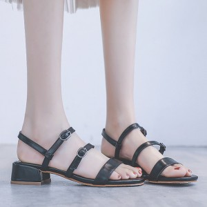 Double Buckle Strap Up Casual Wear Sandals - Black
