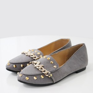 Rivets Decorated Designers Canvas Shoes - Grey