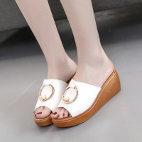 Pearl Ring Pattern Casual Wear Female Slippers - White