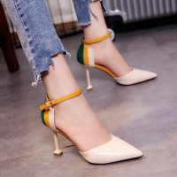 Buckle Closure Almond Toe Women Pencil Heels - Beige