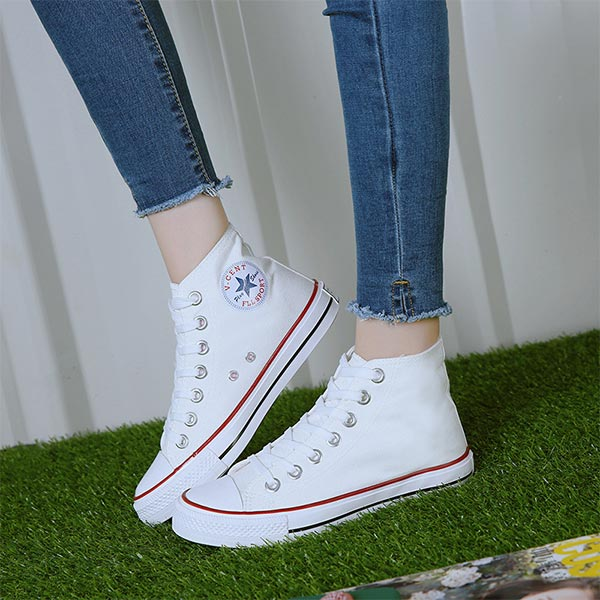 Casual Wear Almond Toe Canvas Sneakers - White