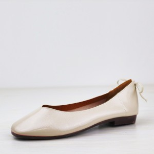 Shiny Flat Bottom Office Wear Shoes - White