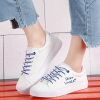 Laced Up Flat Casual Canvas Shoes - Blue Lace