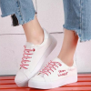 Laced Up Flat Casual Canvas Shoes - Red Lace