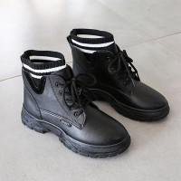 Slip Protected Solid Pattern Casual Boots - Black
