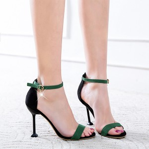 Buckle Suede Strap Party Wear Sandals - Green