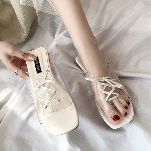 Transparent Laced Up Flat Sandals - White