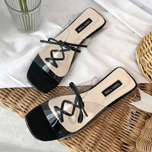 Transparent Laced Up Flat Sandals - Black