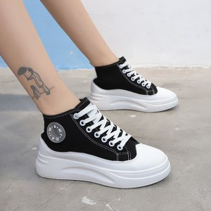 Lace-up Canvas Thick Bottom Casual Women Shoes - Black