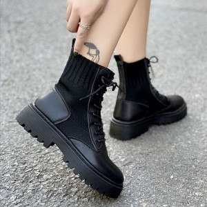 Flat Thick Bottom Pu Leather Short Women Boots - Black