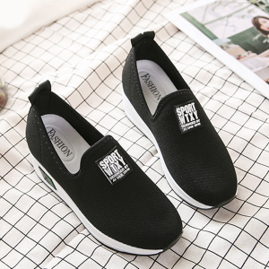 Mesh Thick Bottom Canvas Sneakers - Black