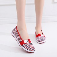 Casual Wear Flat Canvas Women Shoes - Red