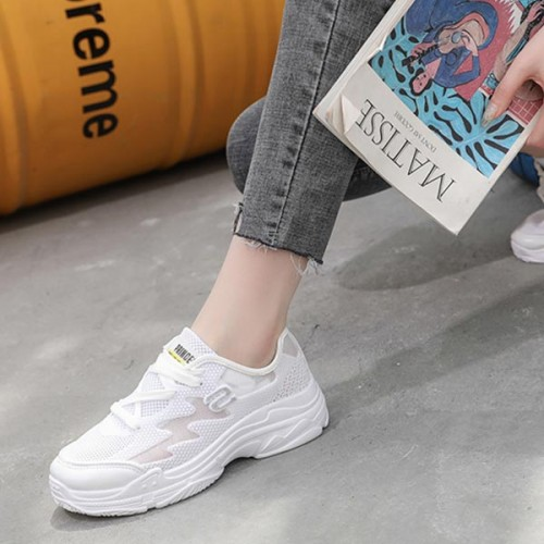Mesh Pattern Transparent Breathable Sports Sneakers - Silver