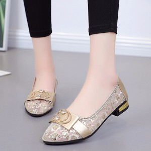 Breathable Hollow Transparent Mesh Beans Shoes - Golden