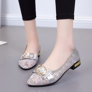 Breathable Hollow Transparent Mesh Beans Shoes - Silver