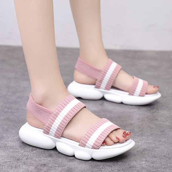 Canvas Summer Wear Rubber Base Casual Slippers - Pink