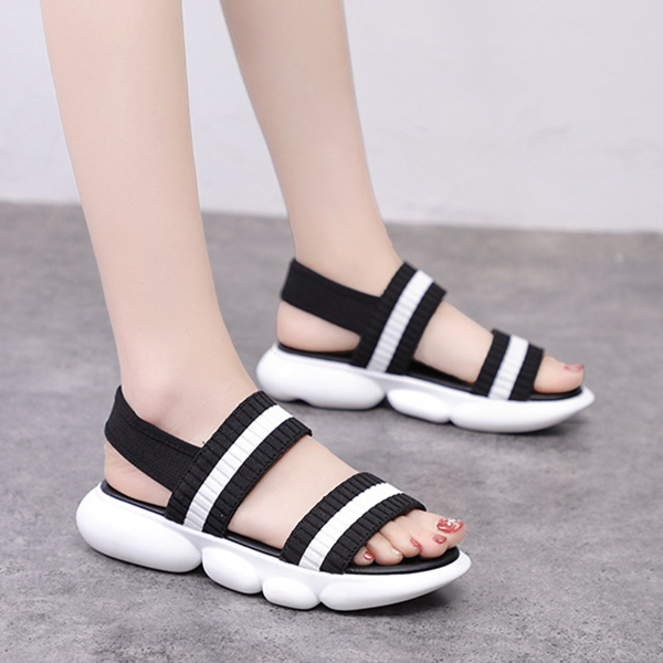 Canvas Summer Wear Rubber Base Casual Slippers - Black