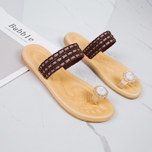 Textured Pearl Flat Wear Party Sandals - Coffee
