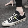 Stitched Casual Wear Canvas Flat Unisex Sneakers - Black