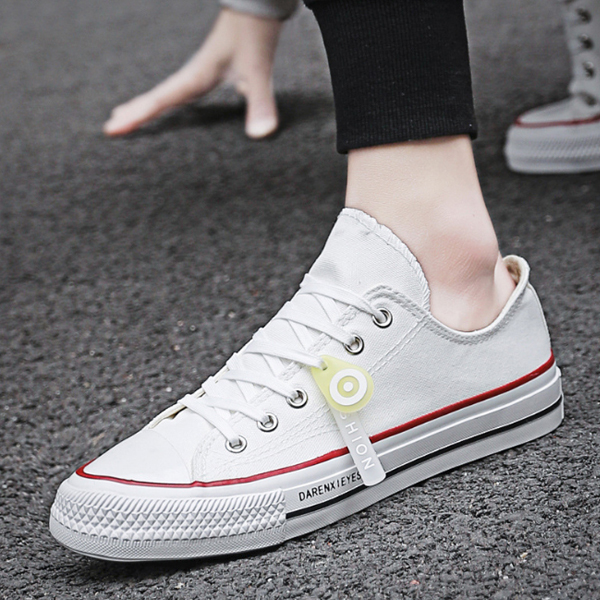 Stitched Casual Wear Canvas Flat Unisex Sneakers - White