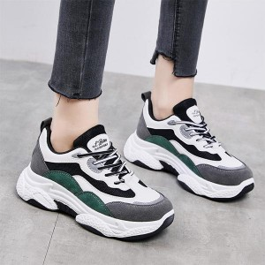 Shallow Mouth Contrast Thick Bottom Sports Shoes - Green