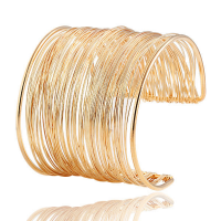 Wired Gold Plated Long Bracelets Women Gifts Bangles - Golden