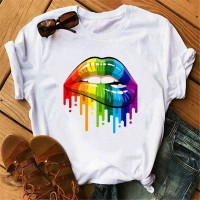 Colorful Lips Printed Summer Wear Casual T-Shirt - White