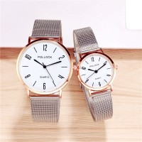 Steel Mesh Belt Stainless Quartz Couple Watch - White
