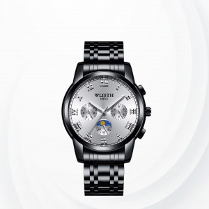 Stainless Steel White Dial Sports Wrist Watch - Black