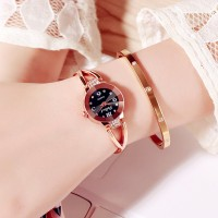 Crystal Decorated Bracelet Analogue Wrist Watch - Black