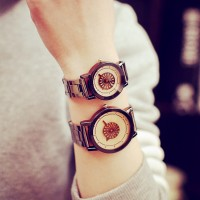 Creative Boho Design Dial Steel Strap Couple Watches -Black