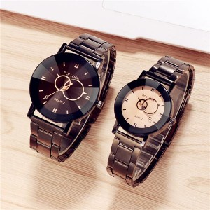 Steel Chain Couple Pair Ladies Big Size Watches - White