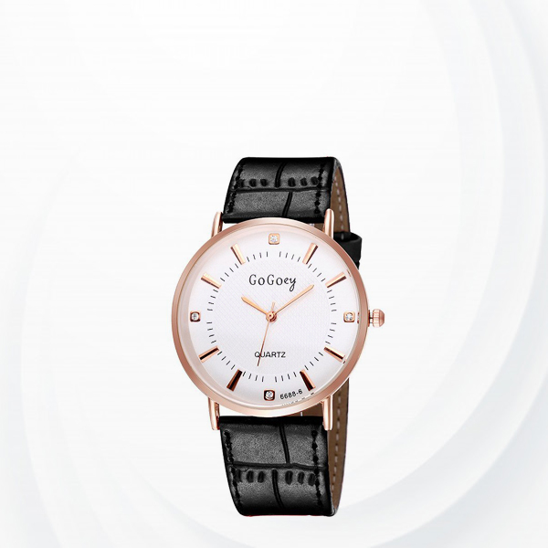 Leather Strap Crystal Wrist Watch For Men - Black
