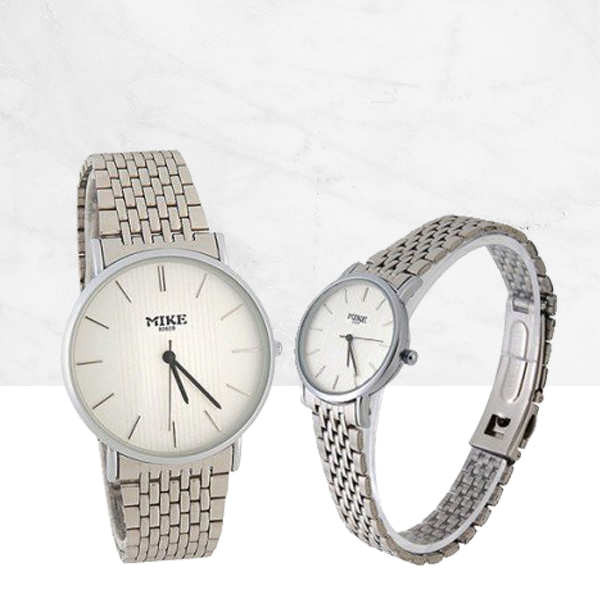 White Dial Silver Stainless Couple Analogue Watches