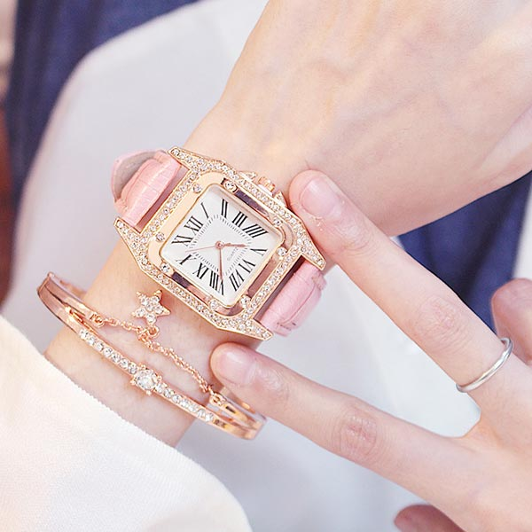 Leather Belt Barrel Square Dial Women Watches - Pink