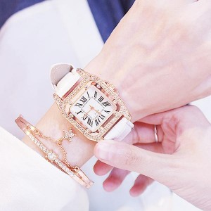 Leather Belt Barrel Square Dial Women Watches - White