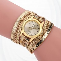 Party Wear Bracelet Band Analogue Wrist Watch - Golden