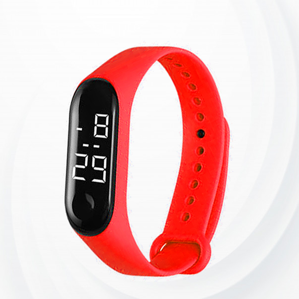 Student Multi Function Silicon Sports Digital Led Watch - Red